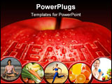 PowerPoint Template - An apple covered with water droplets and text: health.