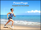 PowerPoint Template - girl running on the beach