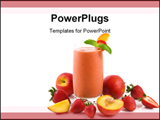 PowerPoint Template - A glass of peach strawberry smoothie on white.