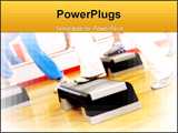 PowerPoint Template - Health club: group of people doing aerobics ** Note: Shallow depth of field