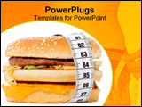 PowerPoint Template - Hamburger wrapped around a measurement tape against white background