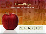 PowerPoint Template - red apple and cubes with letters in front of a white background - healthcare