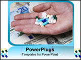 PowerPoint Template - White blue and yellow pills in hand over money