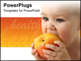 PowerPoint Template - Beautiful child eats red apple closeup isolated over white