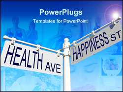 PowerPoint Template - street post with health ave and happiness st signs
