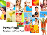 PowerPoint Template - Healthy lifestyle. People diet healthy nutrition fruits fitness