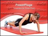 PowerPoint Template - sporty young woman practices press-ups on a red rubber mat