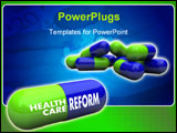 PowerPoint Template - Close-up of some blue and green pills with one featuring the words Health Care Reform