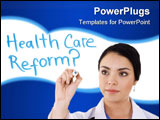 PowerPoint Template - tock image of female doctor writing on whiteboard: Health care reform?... Image over white backgrou