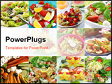 PowerPoint Template - Collage of Different delicious vegetable and fruit salads