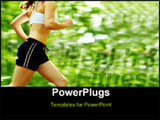 PowerPoint Template - Beautiful young woman runner in a green forest.