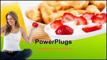 PowerPoint Template - Early breakfast. Strawberries, cream and juice. The symbol of healthy lifestyles