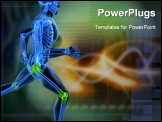 PowerPoint Template - 3d rendered illustration of a running skeleton with highlighted joints