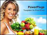 PowerPoint Template - Young smiling woman fruits vegetables and sky