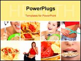 PowerPoint Template - Healthy eating cereals pretty women. Diet. Food