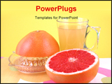 PowerPoint Template - natural grapefruit juice in glass and fresh fruits