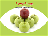 PowerPoint Template - A red apple sits on top of six green apples
