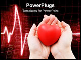 PowerPoint Template - a red heart in caring female hands a cardiogram in the background