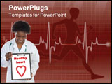 PowerPoint Template - Heart beat on clinic monitor with integrated bits and bytes