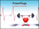 PowerPoint Template - 3D bodybuilding heart who lifts weights