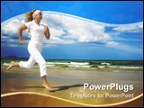 PowerPoint Template - Young woman is running near the ocean. Space for copy