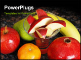 PowerPoint Template - fruits on the counter symbolizes healthy living and nutritional value