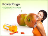 PowerPoint Template - Apples and pills on a high key background. The focus falls off quickly. Sample text