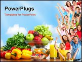 PowerPoint Template - Vegetables and fruits under blue sky. Healthy food.