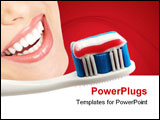 PowerPoint Template - Toothbrush with some toothpaste on it isolated over white background with clipping-path