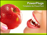 PowerPoint Template - Beautiful young woman eating a red apple. Isolated over white