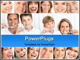 PowerPoint Template - Happy family. Father mother and children with toothbrushes.
