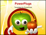 PowerPoint Template - Funny apple guy character 3d render illustration