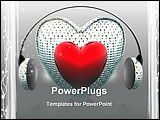 PowerPoint Template - music of the heart with headphone creative background