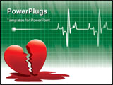 PowerPoint Template - A lifeline in an electrocardiogram and a broken heart