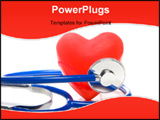 PowerPoint Template - A red heart shape and a medical stethoscope.