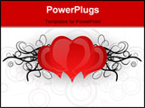 PowerPoint Template - Hearts with black curves on the gray background