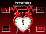 PowerPoint Template - Heart shaped alarm clock with heart beat graph in the background.