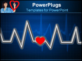 PowerPoint Template - glass heartbeat line with heart over black background.