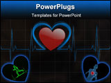 PowerPoint Template - A medical background with a heart beat / pulse with a heart rate monitor symbol