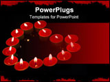 PowerPoint Template - heart-shaped red burn candles on black background