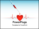 PowerPoint Template - Heart syringe and heart cardiogram on the white background