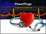 PowerPoint Template - Heart and a stethoscope isolated in white background