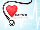 PowerPoint Template - Stethoscope and red heart health for health.