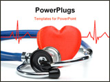 PowerPoint Template - Heart and a stethoscope on a white background. Concept for cardiology.