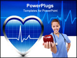 PowerPoint Template - Heart Beats in Blue Oscillator