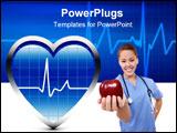 PowerPoint Template - Heart Beats in Blue Oscillator