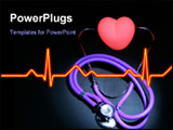 PowerPoint Template - Stethoscope with earpieces on a red Illuminated heart. central with room for text left and right