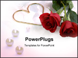 PowerPoint Template - two roses and a gold metal heart on a very soft, flowery background.