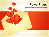 PowerPoint Template - Hearts bursting out of the envelope. Vector illustration.