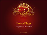 PowerPoint Template - Two hearts with the block for the text on a red background with an ornament